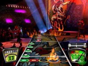 Above: The now infamous gameplay format which simulates playing in a rock band.