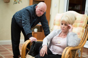 Peggy appeared in a number of scenes alongside son Phil (Steve McFadden) on Friday.
