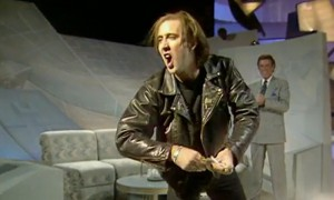 Nicholas Cage on Wogan, where he famously threw money and undressed.