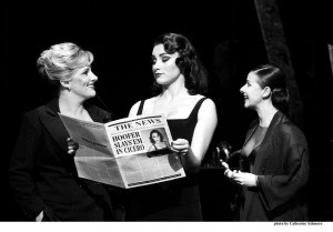 Sam Bailey as Mama Morton, Sophie Carmen-Jones as Velma Kelly and Hayley Tamaddon as Roxie Hart