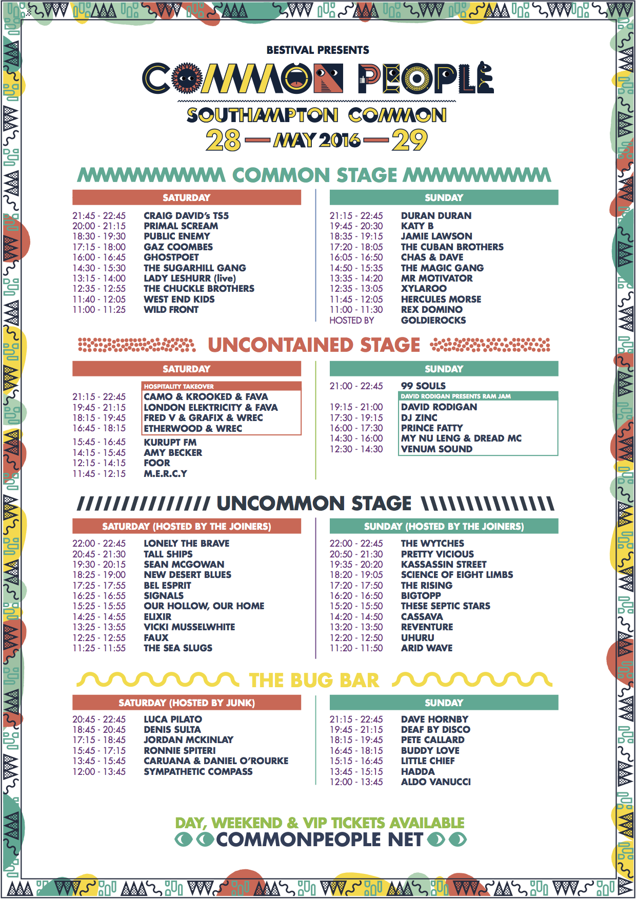 Common People 2016 Set Times
