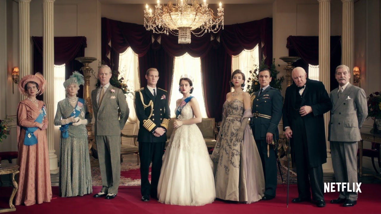 The cast of Season One of the Crown, including, Claire Foy as Queen Elizabeth, and Matt Smith as Prince Phillip